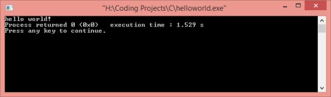 hello world with c language