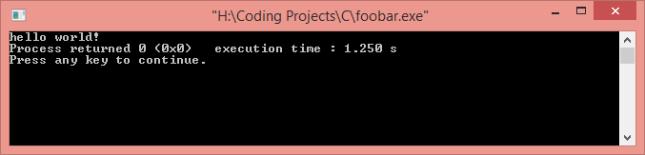 hello world with c language foobar